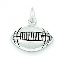 Antiqued Football Charm in Sterling Silver