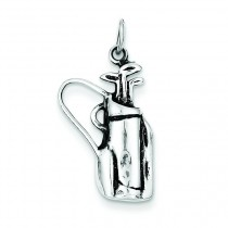 Antiqued Golf Clubs Bag Charm in Sterling Silver