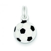 Black White Soccer Ball Charm in Sterling Silver