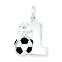 Number One Soccer Pendant in Sterling Silver