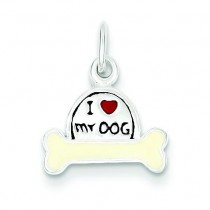 I Love My Dog Charm in Sterling Silver