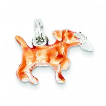 Beige Enamel Running Dog Charm in Sterling Silver