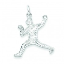 Baseball Pitcher Charm in Sterling Silver