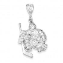 Hockey Goalie Charm in Sterling Silver