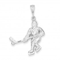 Hockey Player Charm in Sterling Silver