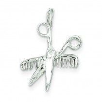 Comb Scissors Charm in Sterling Silver