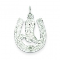 Horseshoe Boot Charm in Sterling Silver