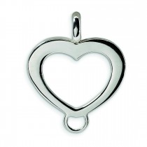 Heart Shaped Charm Carrier Pendant in Sterling Silver