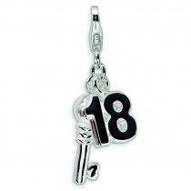 Key Lobster Clasp Charm in Sterling Silver