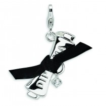 CZ Ribboned Diploma Lobster Clasp Charm in Sterling Silver