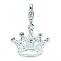 CZ Crown Lobster Clasp Charm in Sterling Silver