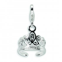 Swarovski Crystal Tiara Lobster Clasp Charm in Sterling Silver