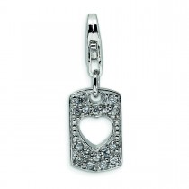 CZ Love Heart Clip On Lobster Clasp Charm in Sterling Silver