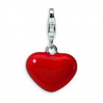 Red Heart Lobster Clasp Charm in Sterling Silver