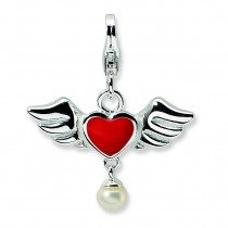 Winged Red Heart Fw Cult Pearl Lobster Charm in Sterling Silver