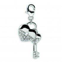 CZ Heart Key Lobster Clasp Charm in Sterling Silver