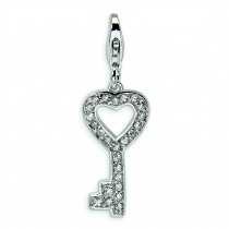 CZ Key Lobster Clasp Charm in Sterling Silver