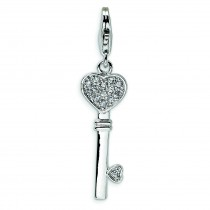 Heart Top CZ Key Lobster Clasp Charm in Sterling Silver