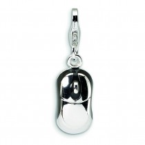 Mouse Lobster Clasp Charm in Sterling Silver