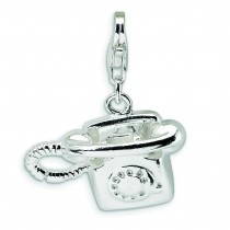 Telephone Lobster Clasp Charm in Sterling Silver