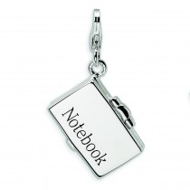 Notebook Laptop Lobster Clasp Charm in Sterling Silver