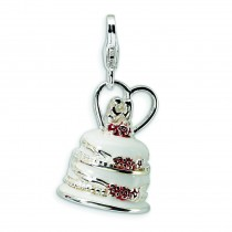 Wedding Cake Lobster Clasp Charm in Sterling Silver