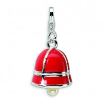 Fw Cultured Pearl Red Enamel Bell Lobster Clasp Charm in Sterling Silver