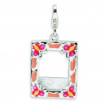 Photo Frame Lobster Clasp Charm in Sterling Silver