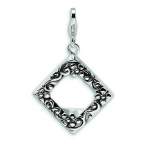 Antiqued Photo Lobster Clasp Charm in Sterling Silver