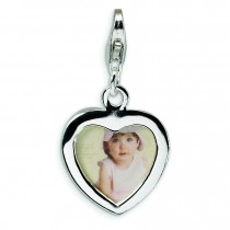 Heart Frame Lobster Clasp Charm in Sterling Silver