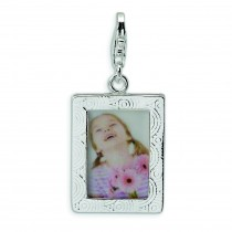 Picture Frame Lobster Clasp Charm in Sterling Silver