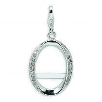Oval Photo Lobster Clasp Charm in Sterling Silver