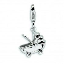 Baby Carriage Lobster Clasp Charm in Sterling Silver