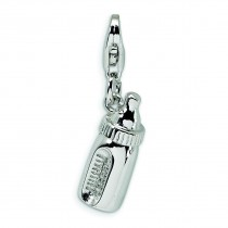 Baby Bottle Lobster Clasp Charm in Sterling Silver