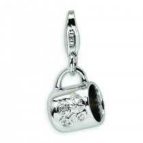 Baby Cup Lobster Clasp Charm in Sterling Silver