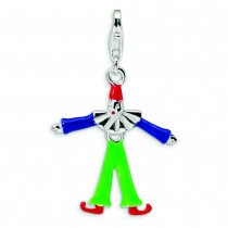 Enamel Clown Lobster Clasp Charm in Sterling Silver