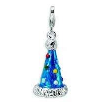 Party Hat Lobster Clasp Charm in Sterling Silver