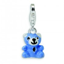 Blue Enamel Teddy Bear Lobster Clasp Charm in Sterling Silver