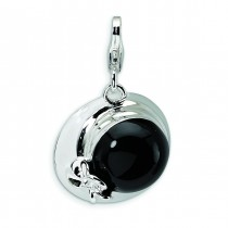 Black Hat Lobster Clasp Charm in Sterling Silver