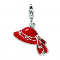 Red CZ Hat Lobster Clasp Charm in Sterling Silver