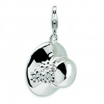 Hat Lobster Clasp Charm in Sterling Silver