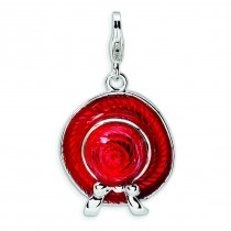 Red Hat Lobster Clasp Charm in Sterling Silver