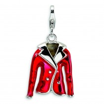 Red Jacket Lobster Clasp Charm in Sterling Silver