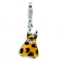 CZ Leopard Dress Charm in Sterling Silver