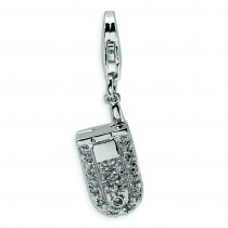 Flip Cell Phone CZ Lobster Clasp Charm in Sterling Silver