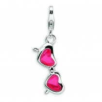 Coral Heart Sunglasses Lobster Clasp Charm in Sterling Silver