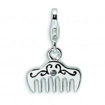 Swarovski Crystal Enamel Comb Lobster Clasp Charm in Sterling Silver