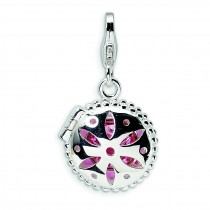 Swarovski Crystal Enamel Compact Lobster Clasp Charm in Sterling Silver