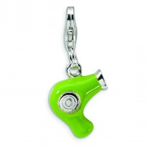 Green Hair Dryer Lobster Clasp Charm in Sterling Silver