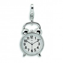 Alarm Clock Lobster Clasp Charm in Sterling Silver